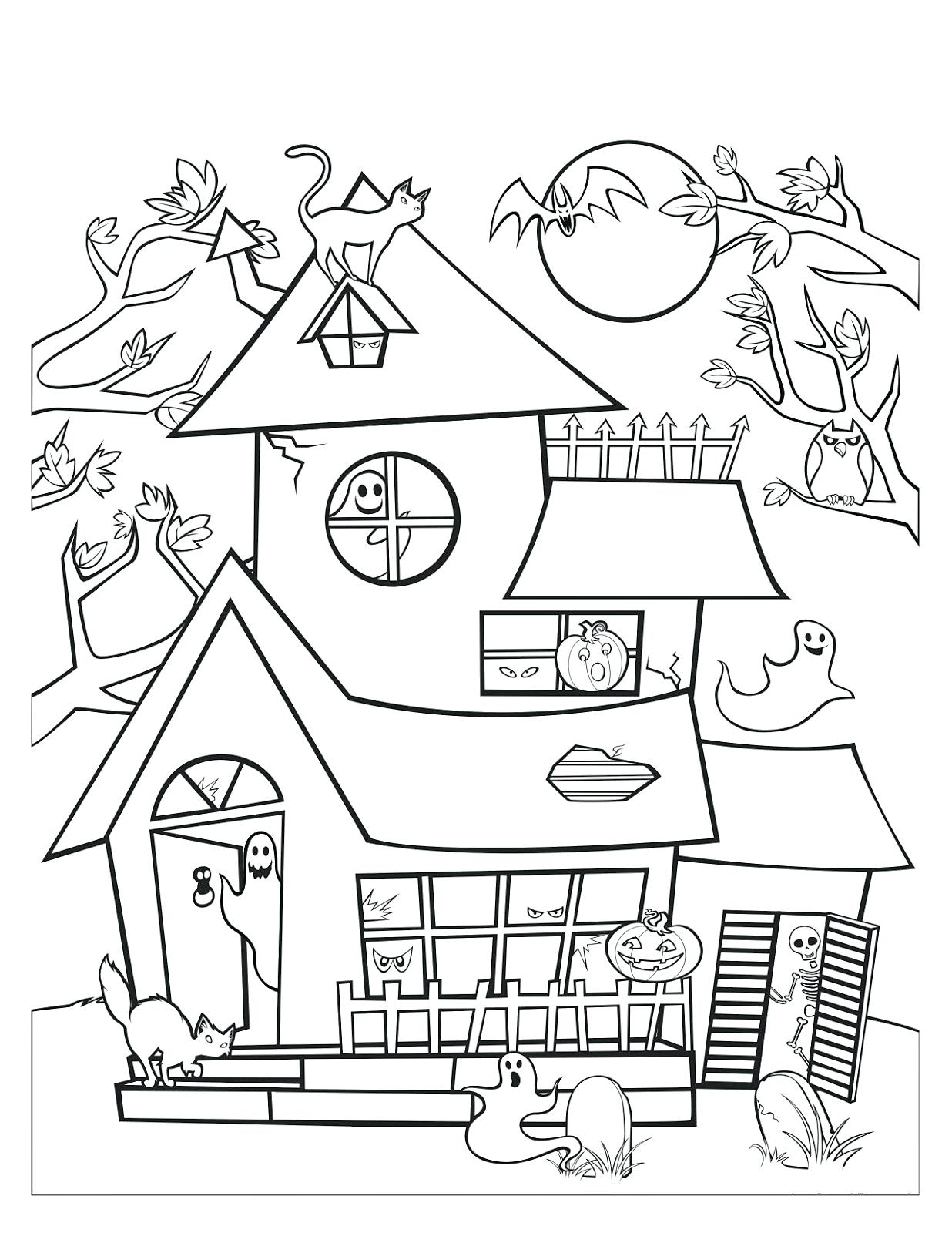 1236x1600 Coloring Haunted House Coloring Pages