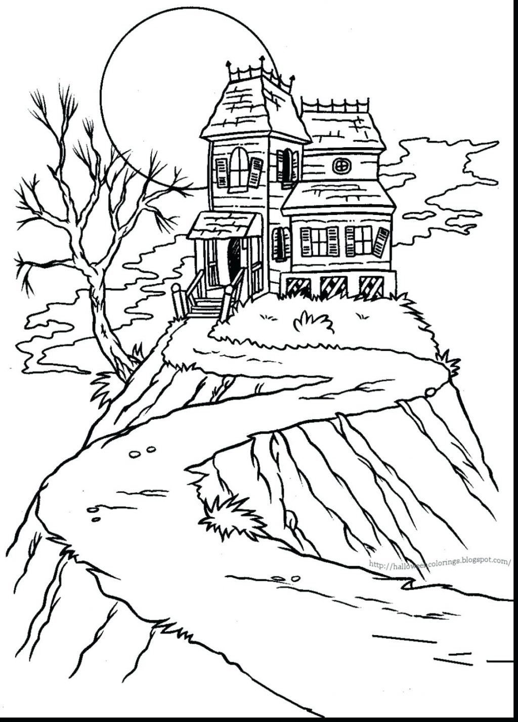 1024x1428 Coloring Pages ~ Haunted House Coloring Page Impressive Colouring