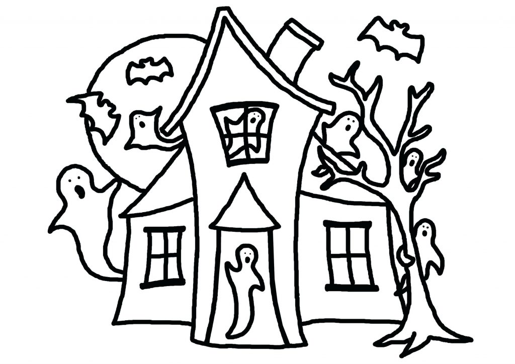 1024x724 Coloring Pages ~ Haunted House Coloring Page Pages Scary Haunted