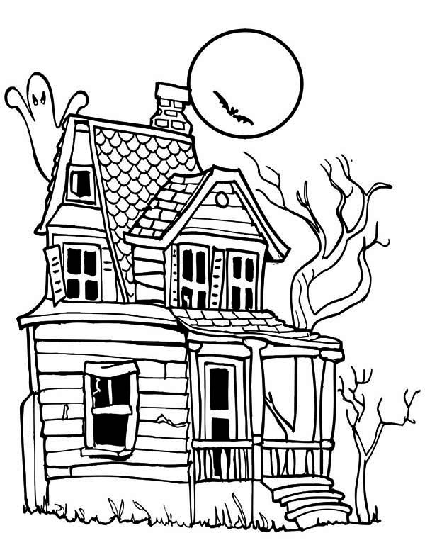600x776 Creepy Haunted House In Houses Coloring Page Color Luna