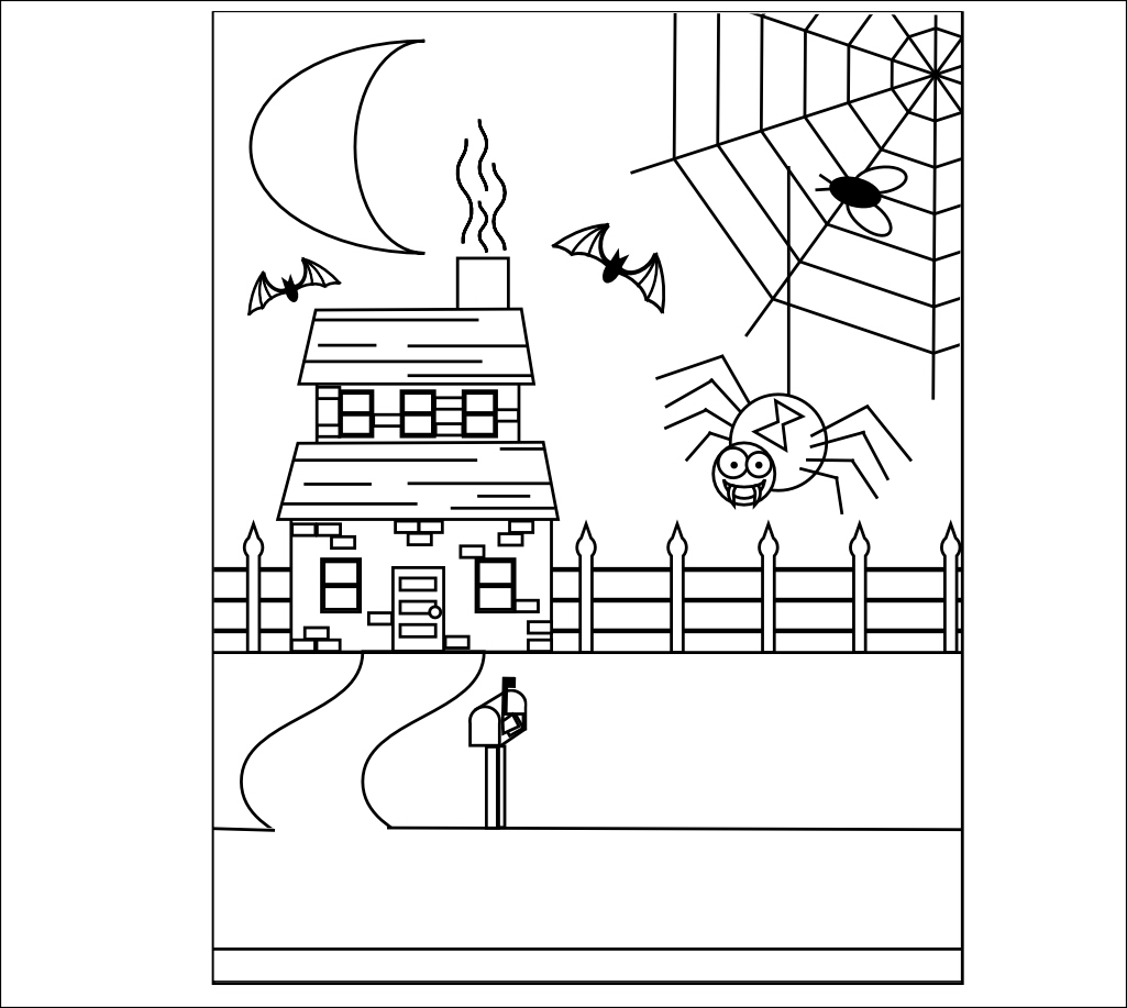 1025x917 11 Best Photos Of Haunted House Coloring Pages Printable Templates