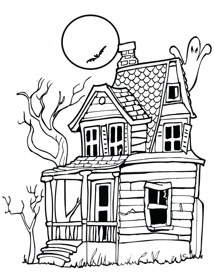 700x905 Free Printable Halloween Coloring Pages Drawn Haunted House Spooky
