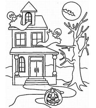 330x371 Free Printable Halloween Haunted House Colouring Sheet For Kids