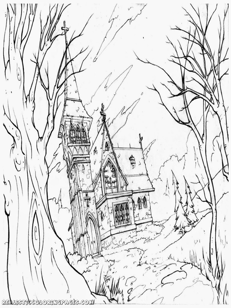768x1024 Halloween Haunted House Coloring Pages Realistic Coloring Pages