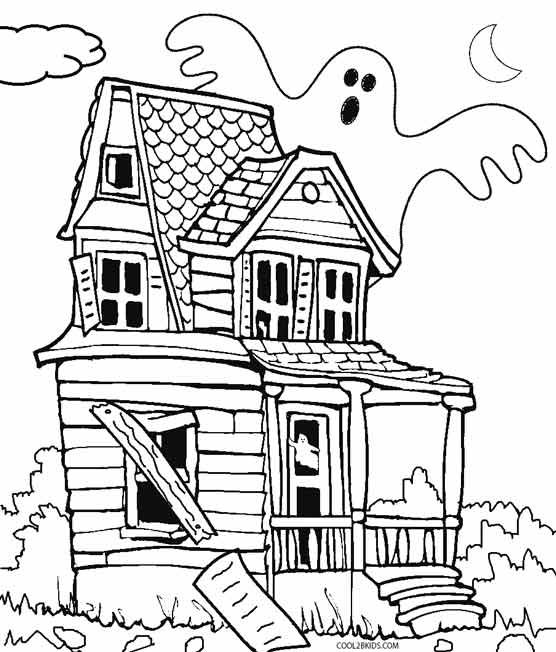 556x652 Haunted House Coloring Page Halloween Preschool To Beatiful Draw