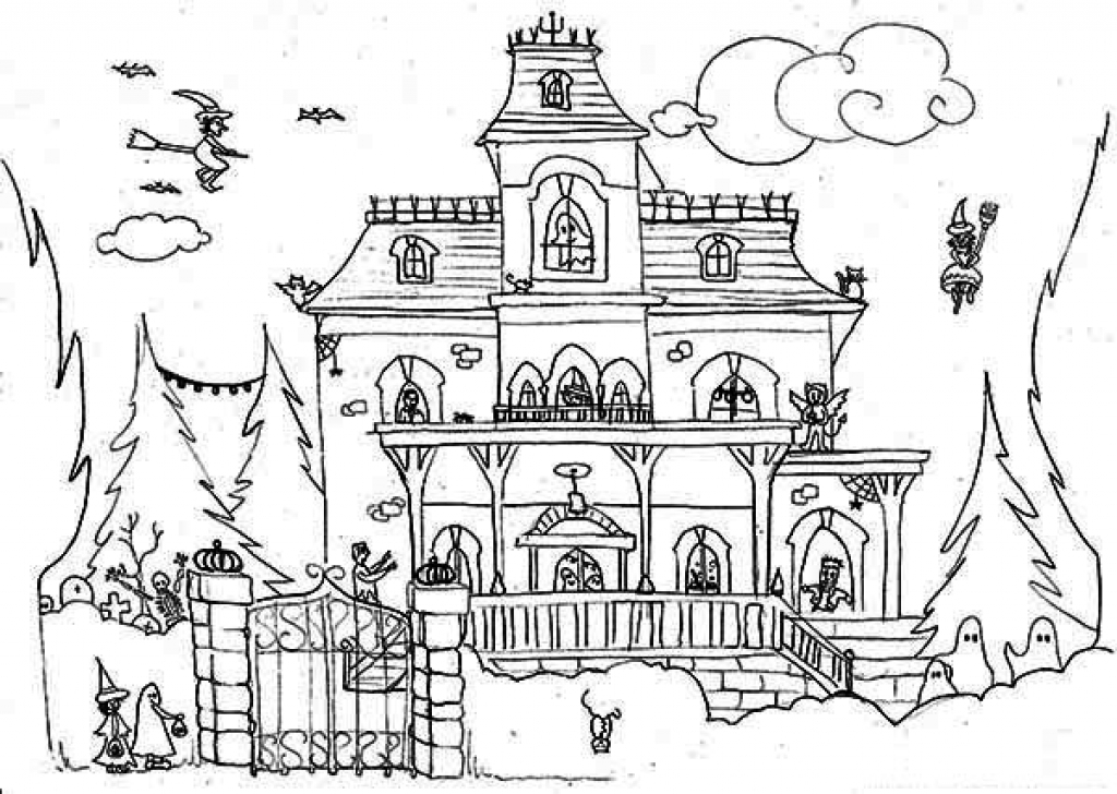 1024x728 Haunted House Coloring Page Halloween Printable For Beatiful Draw