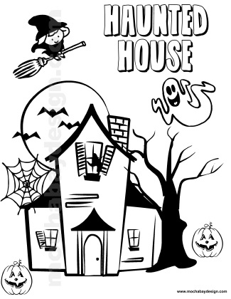 325x420 Haunted House Printable Halloween Kids Coloring Page Fall