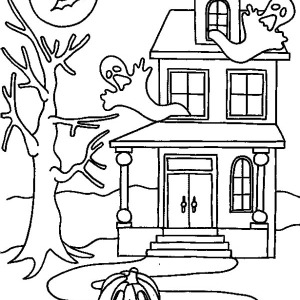 300x300 Haunted House Halloween Day Coloring Page Haunted House