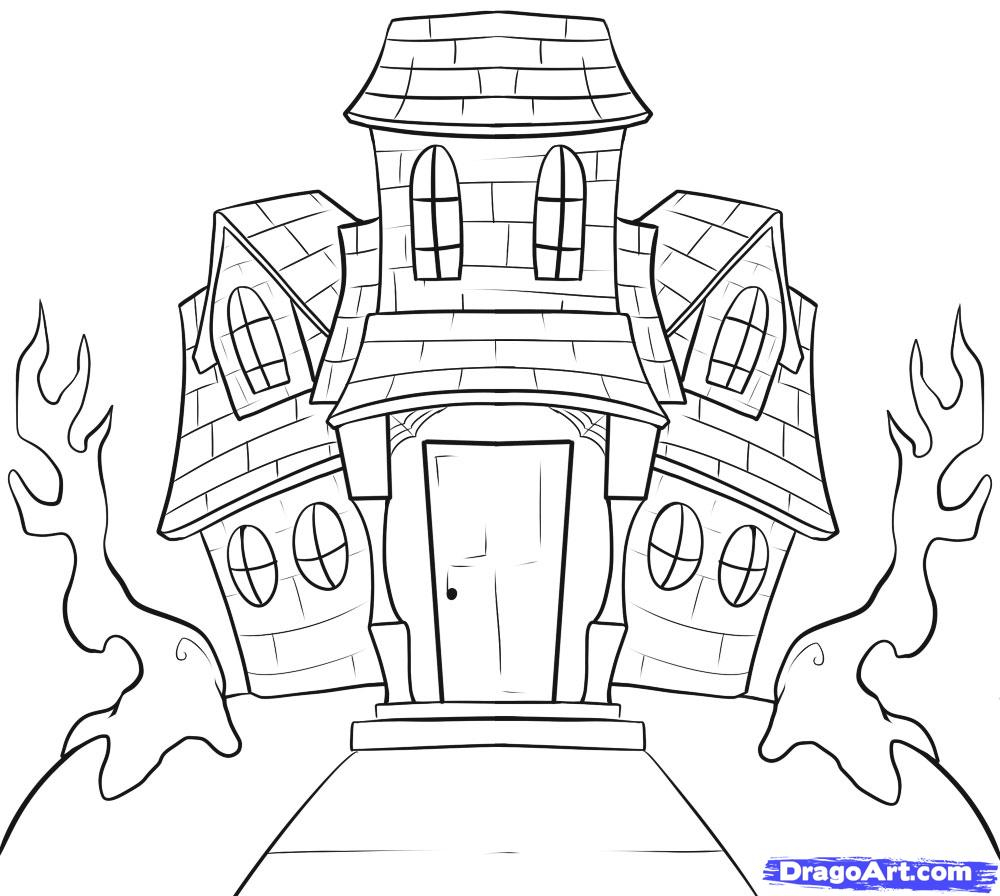 1000x896 How To Draw A Spooky House Step By Step Halloween Seasonal Home