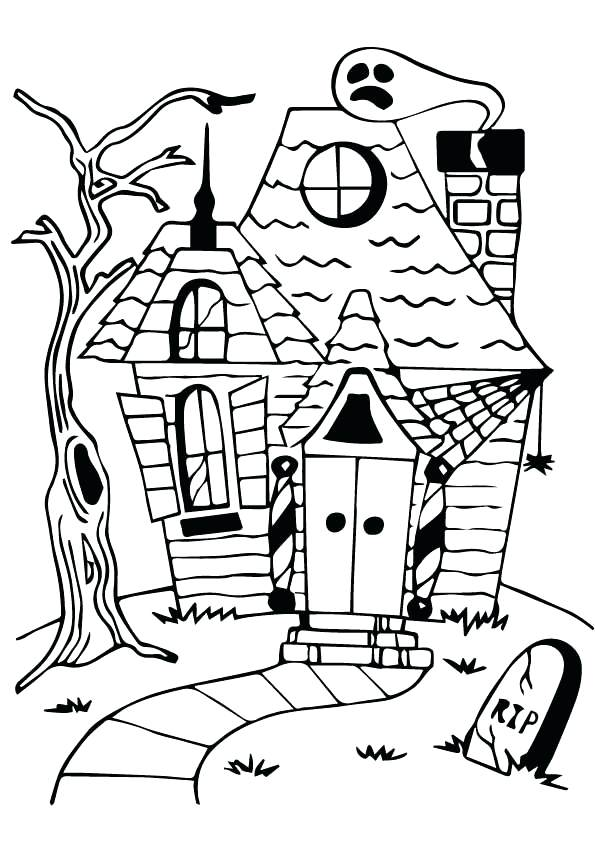 595x842 Spooky House Coloring Pages Haunted House Coloring Page Haunted