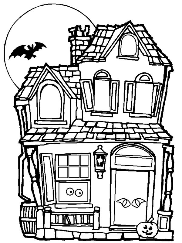 600x800 Spooky And Haunted Halloween Day House Coloring Page