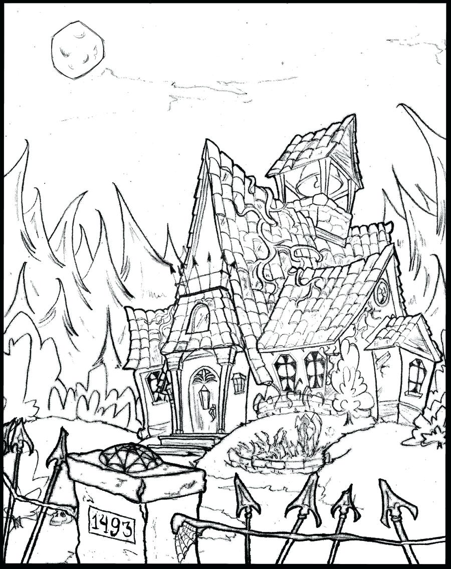 900x1136 Coloring Spooky Coloring Pages Cute Haunted House. Spooky