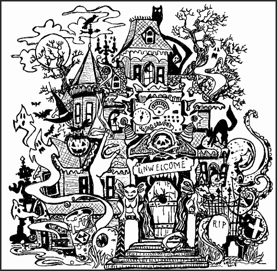 568x554 Drawings Of Haunted Houses Oux7g Inspirational Drawn Haunted House