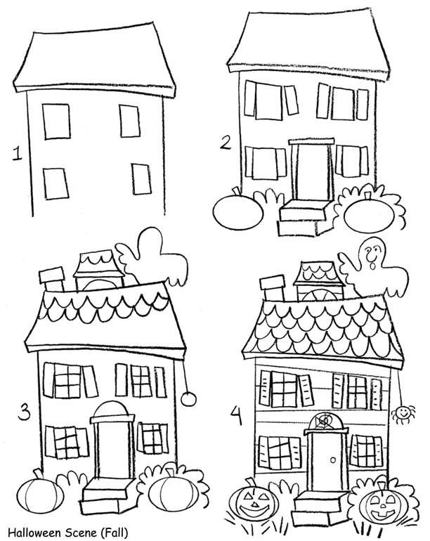 612x770 Easy To Draw Haunted Houses Easy To Draw Halloween Haunted House