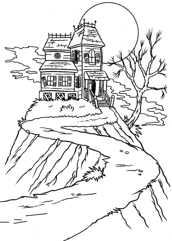 600x836 Elegant Free Halloween Coloring Pages Print Easy Sheets Haunted