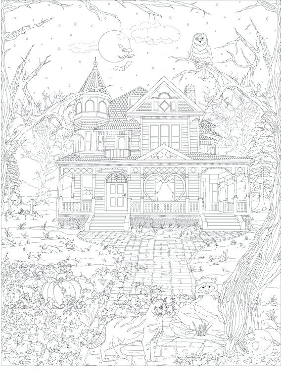 570x789 Haunted Mansion Coloring Pages Scary Haunted House Coloring Pages