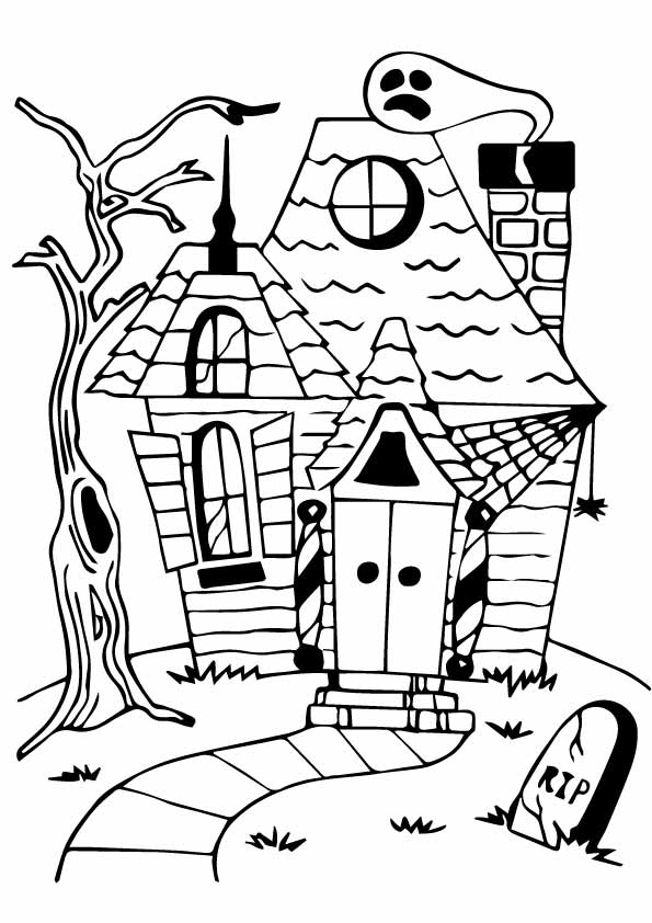 595x842 Haunted House Coloring Pages Mansion