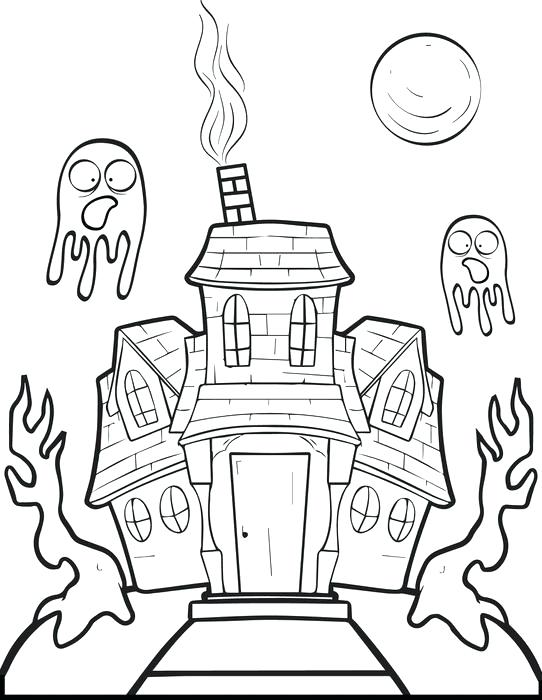542x700 Spooky Haunted House Coloring Page Drawn Printable Pencil And