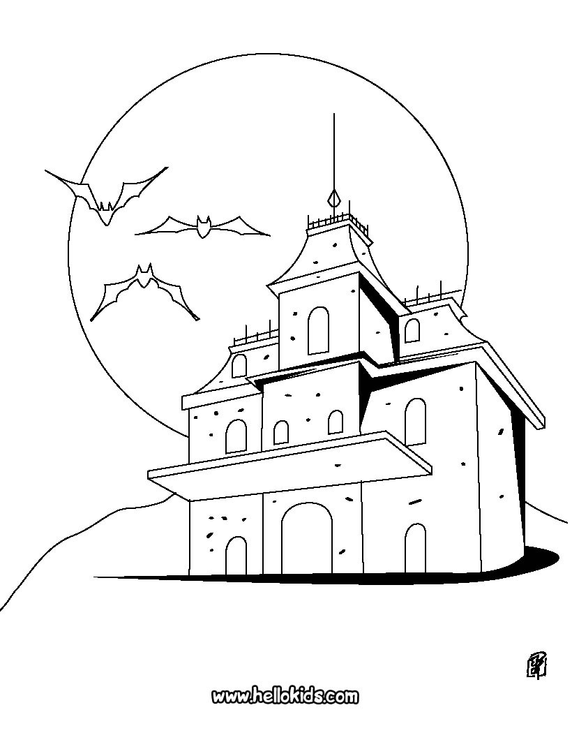 820x1060 Vampires Haunted Manor Coloring Pages