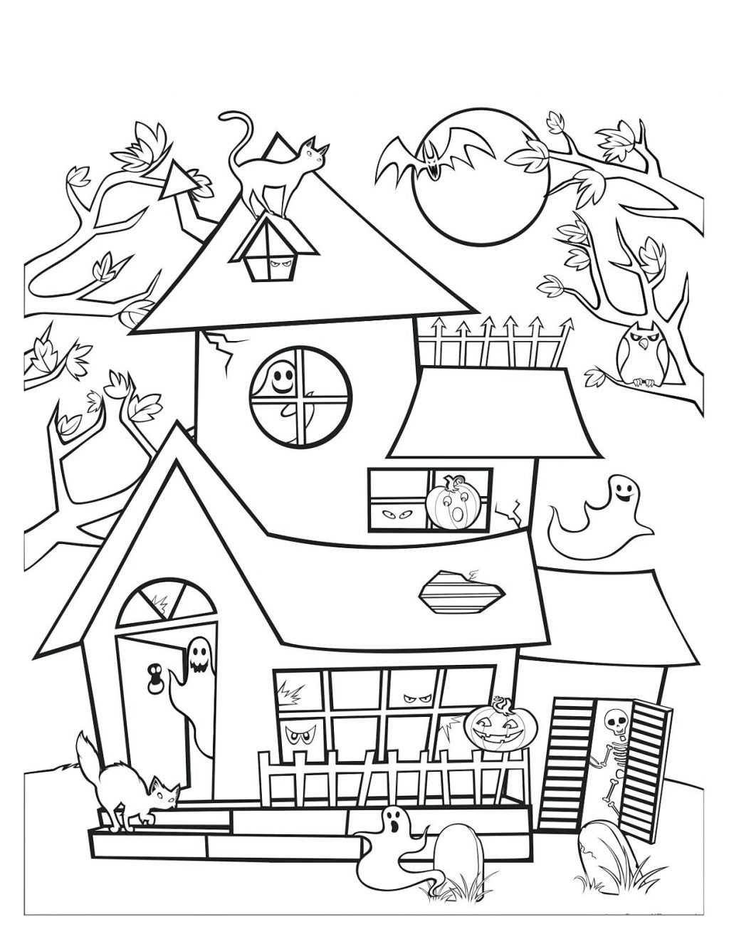 1024x1326 Coloring Pages ~ Haunted House Coloring Page Drawn 7 Pages