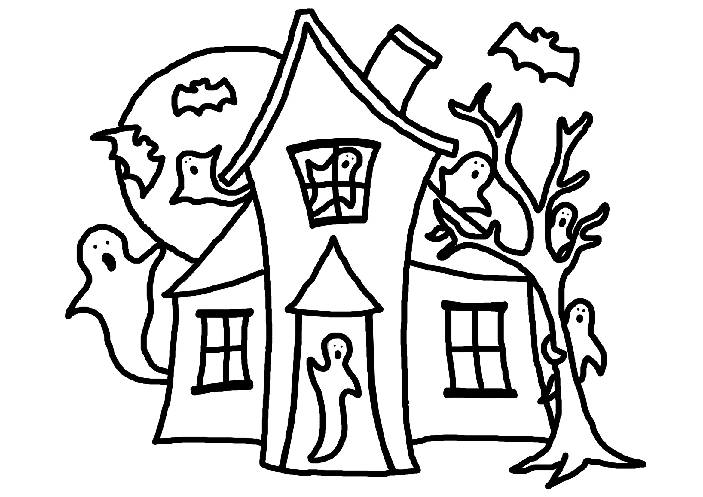 2339x1654 Haunted House Coloring Book Page Free Draw To Color