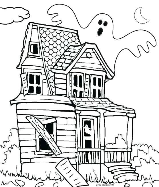 556x652 Haunted House Coloring Pages