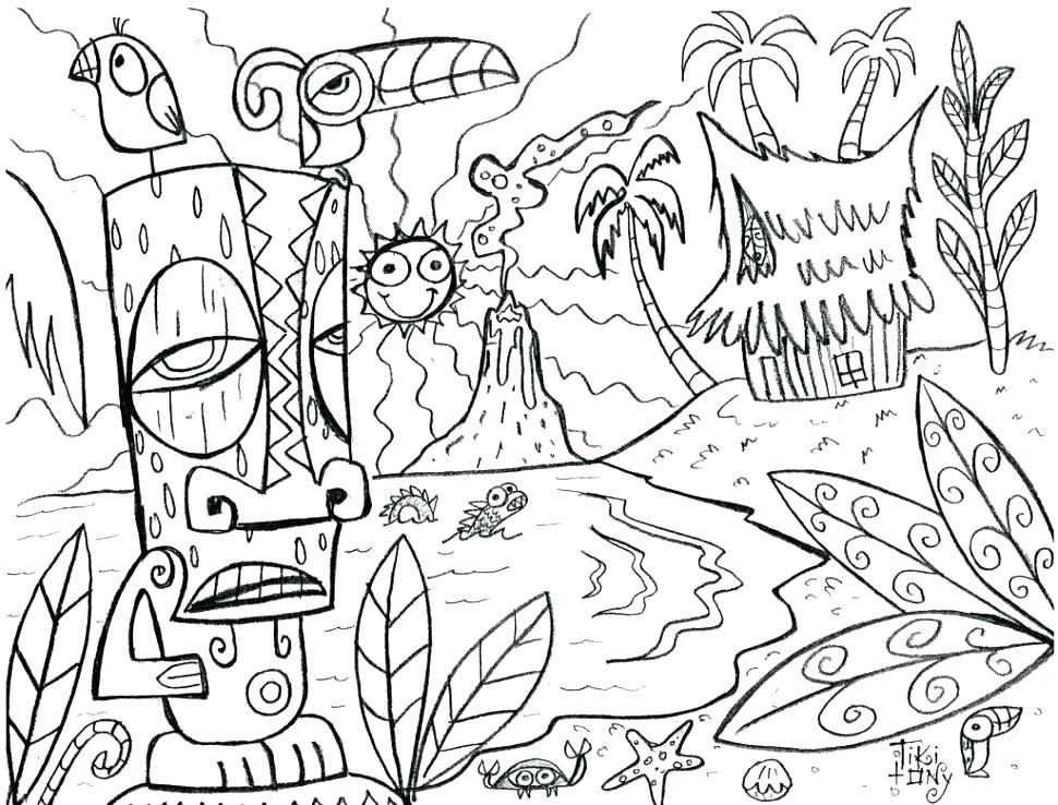 970x738 Hawaiian Coloring Pages Preschool To Funny Print Pict Hawaii 34