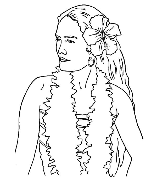 600x734 Woman From Hawaii Coloring Pages Coloring Sun