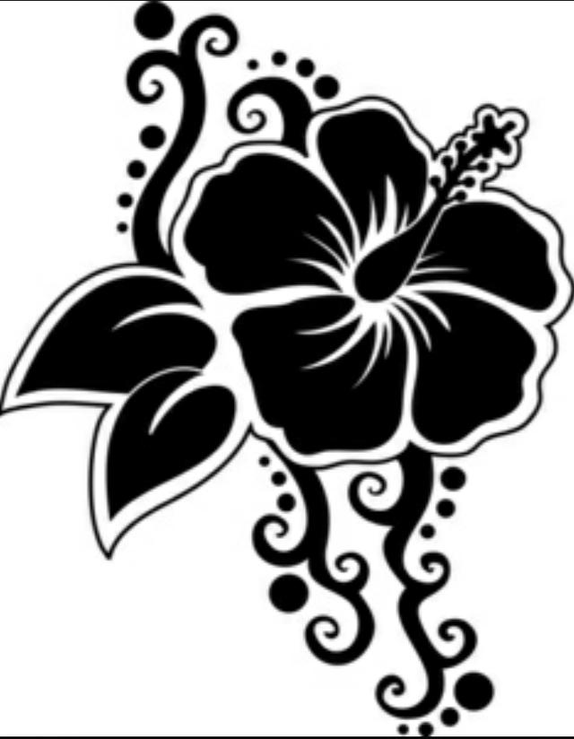 640x824 Hawaiian Flowers Black And White Drawing