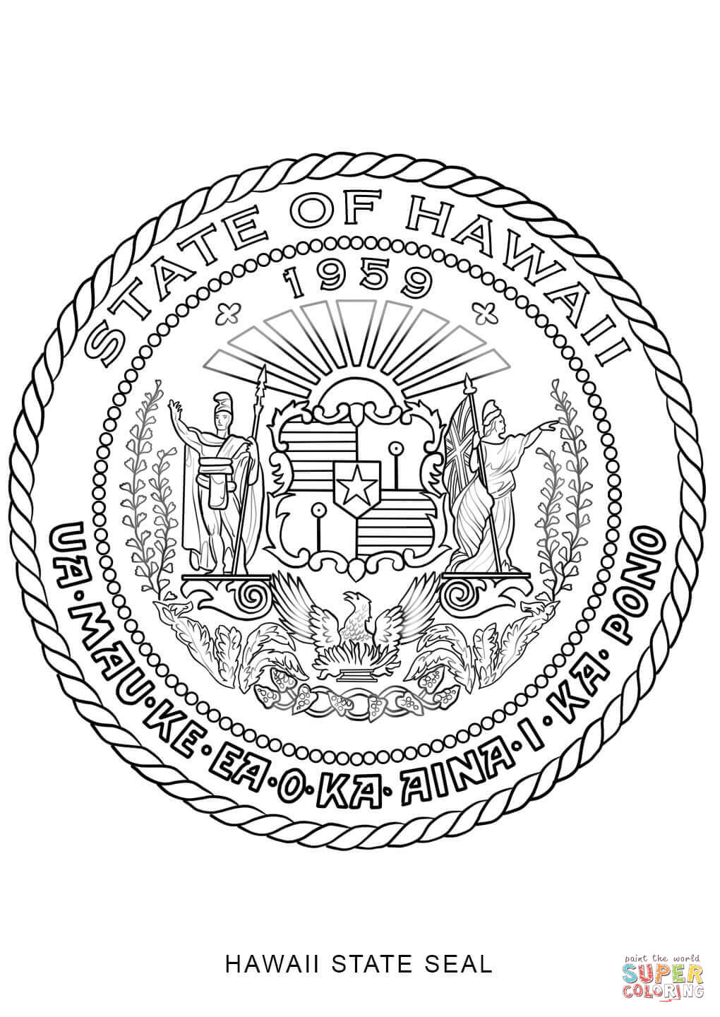 1020x1440 Hawaii State Seal Coloring Page Free Printable Coloring Pages