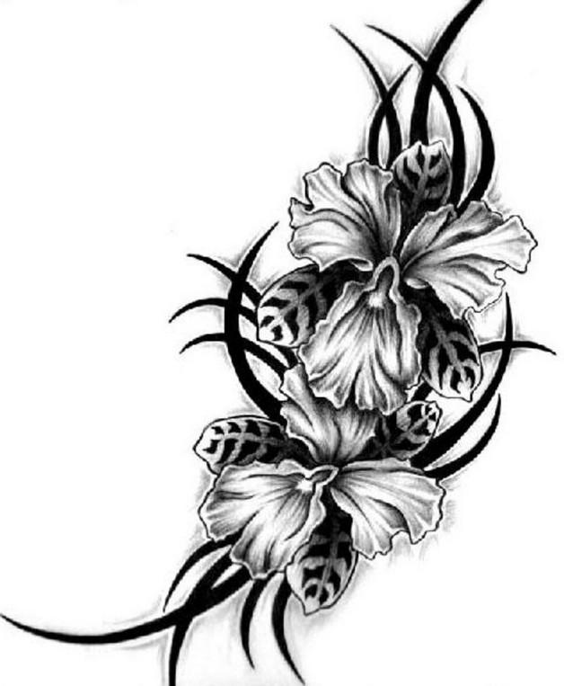 628x763 Hawaiian Flowers Tattoo Design