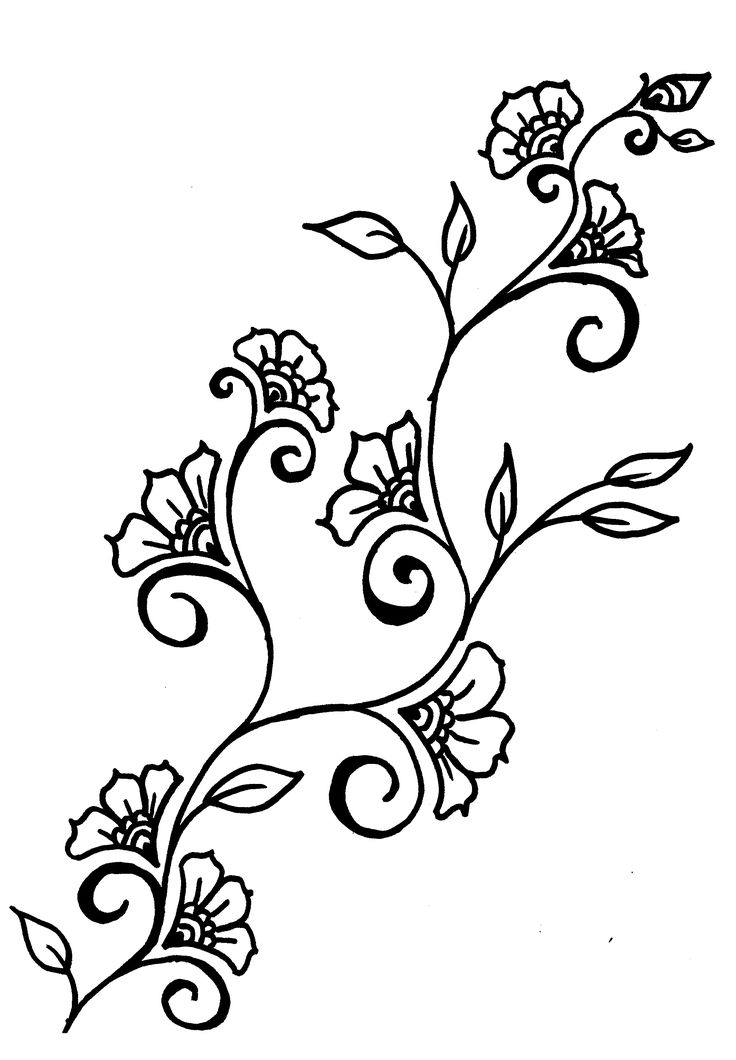 736x1060 Coloring Pages Flower Drawing Designs Vine Tattoos Tattoo