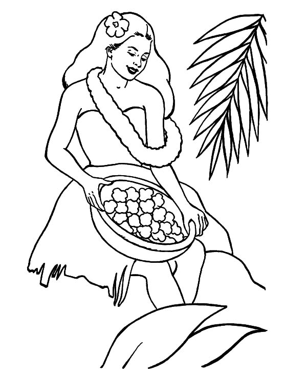 600x734 Hawaii Girl Prepare To Welcome Tourist Coloring Pages Hawaii Girl