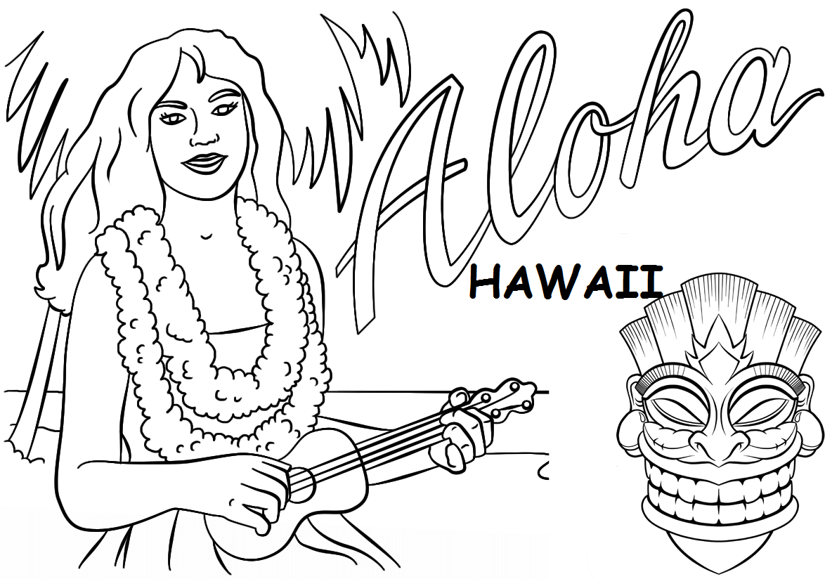 1174x824 Hawaii Themed Coloring Pages