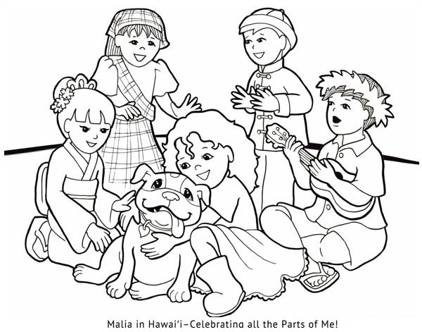 600x471 Hawaiian Girl Gather With Other Nation Children Coloring Page