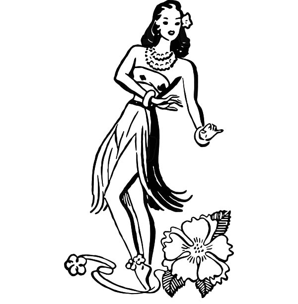 600x612 Hawaiian Hula Girl Dancer And A Hibiscus Flower Coloring Pages