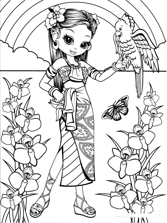 534x709 Hawaiian Girl With Bird Coloring Page Coloring Pages For Adults