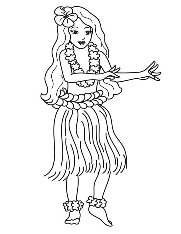 Hawaiian girl drawing at free for for Hawaii coloring page