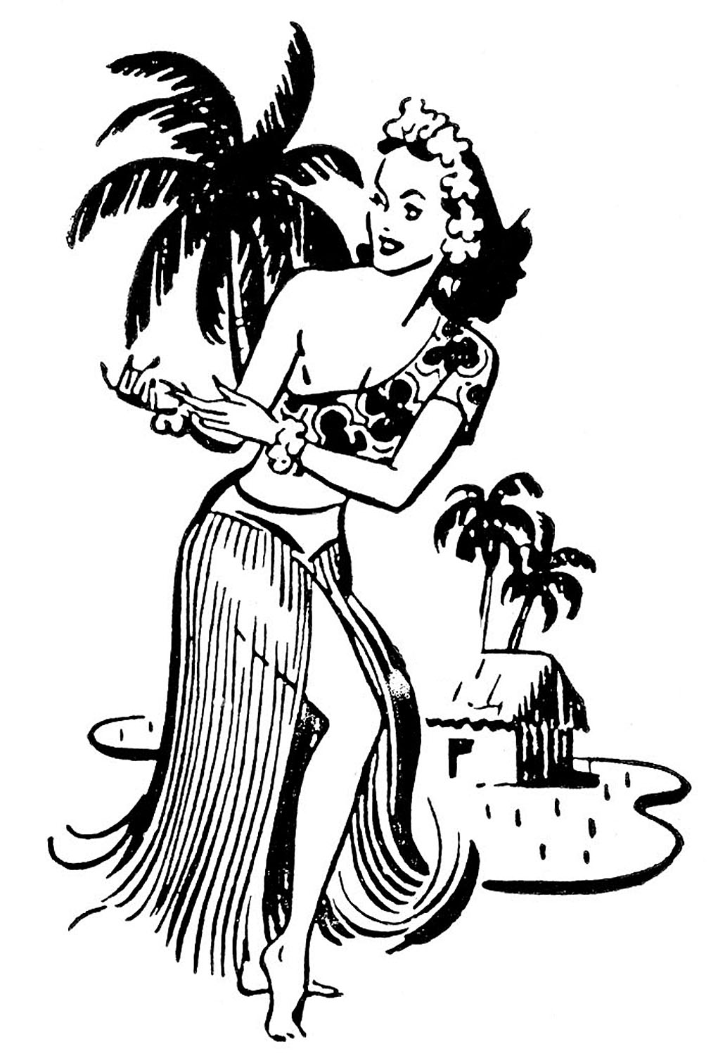 1021x1500 Vintage Hawaiian Girl Clipart