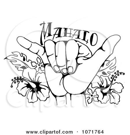 450x470 Clipart Black And White Hang Loose Shaka Hand And Hawaiian