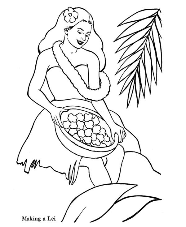 600x734 Making Hawaiian Flower Lei Coloring Page