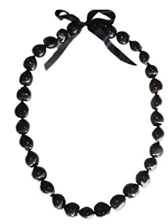 334x445 Hawaiian Black Kukui Nut 32 Lei Clothing
