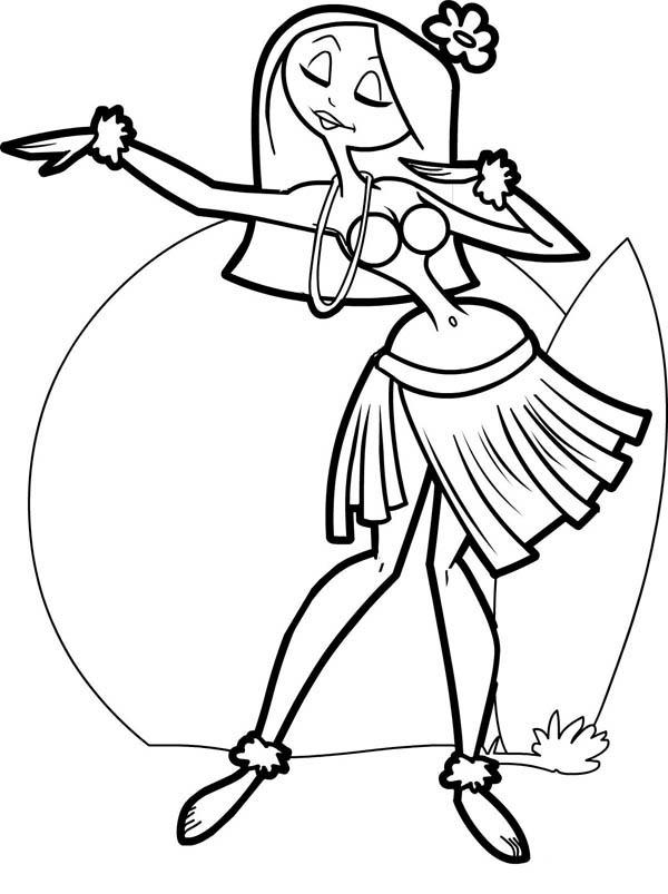600x803 Beautiful Hawaiian Hula Dancer Coloring Page