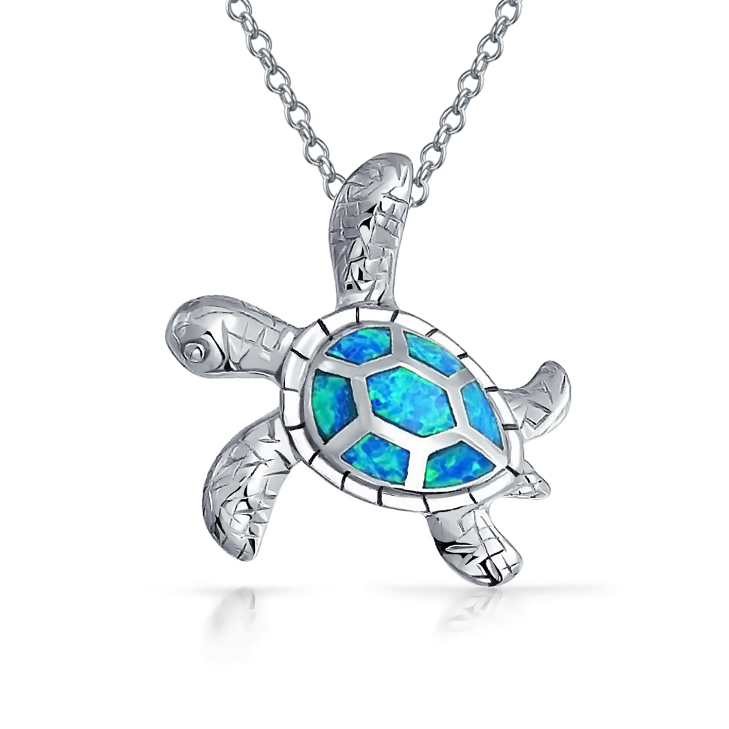 1500x1500 925 Silver Blue Opal Inlay Nautical Sea Turtle Necklace 18in