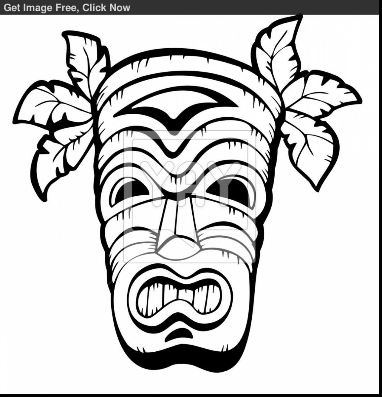 1281x1331 Beautiful Hawaiian Tiki Masks Coloring Pages With Hawaii Coloring