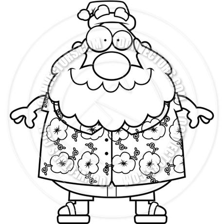 460x460 Cartoon Santa Claus Summer (Black And White Line Art) By Cory