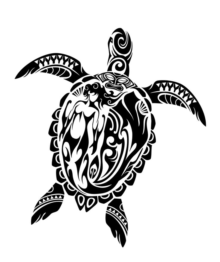 736x876 Hawaiian Black Tribal Sea Turtle Tattoo Design