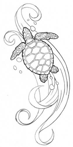 250x500 Polynesian Sea Turtle Tattoo Design
