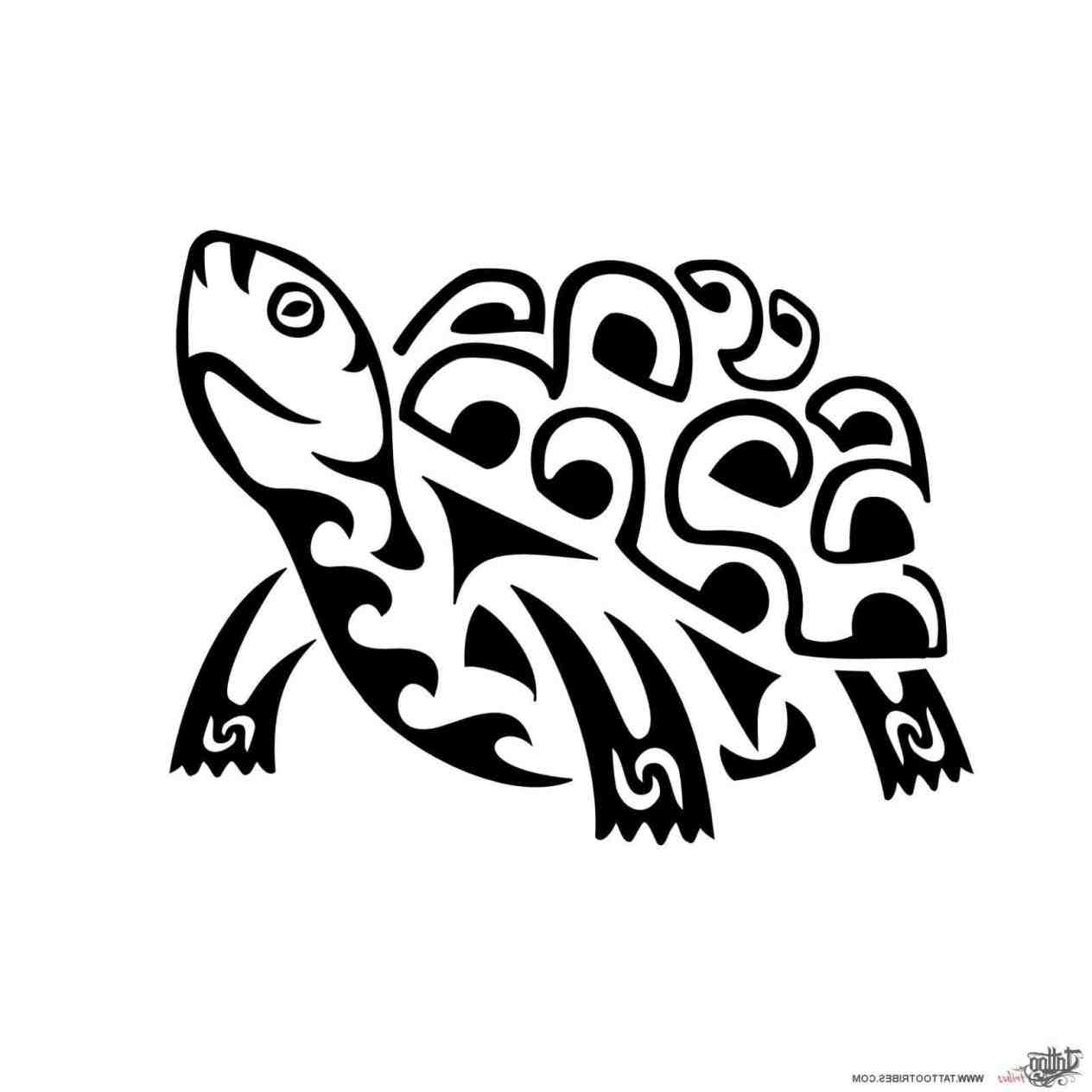 1264x1264 Drawing Best Hawaiian Tribal Turtle Drawings Cute Land Tattoo