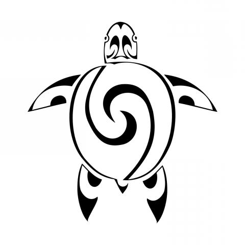 480x480 Half Sleeve Drawn Turtle Polynesian